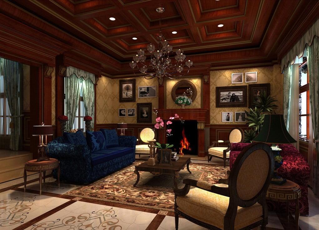 mẫu trần gỗ phòng khách 6