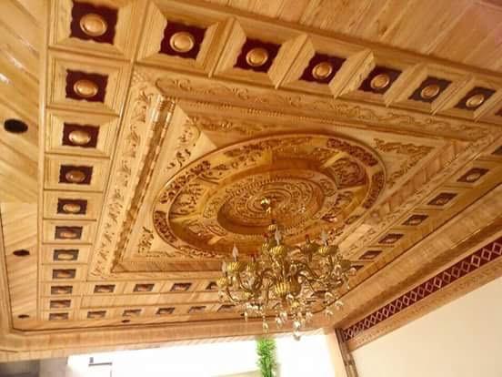 mẫu trần gỗ phòng khách 7