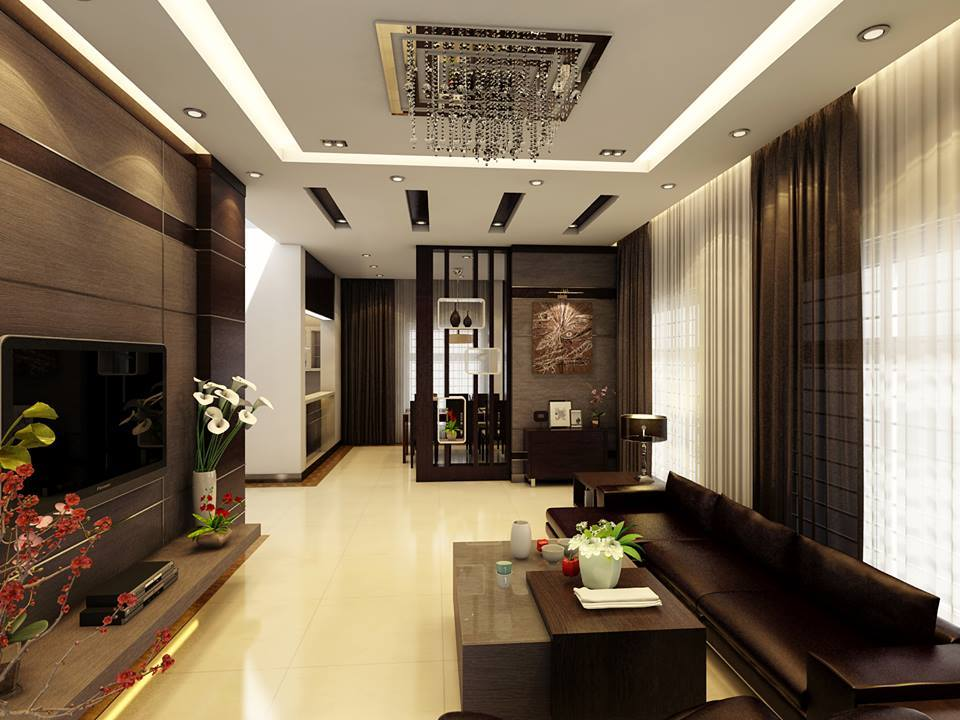 mẫu trần thạch cao phòng khách nhà ống đẹp 1
