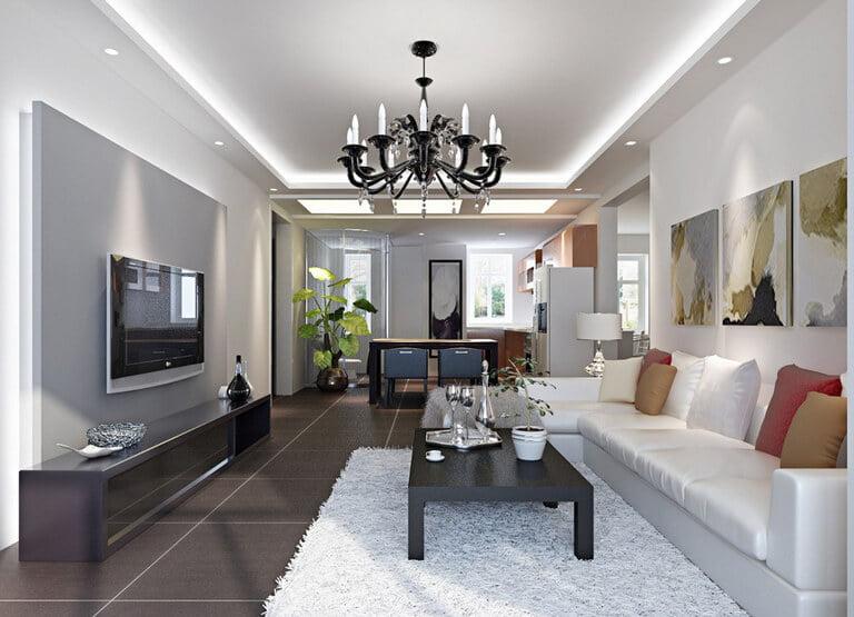 mẫu trần thạch cao phòng khách nhà ống đẹp 13