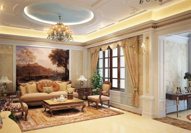 mẫu trần thạch cao phòng khách nhà ống đẹp 15