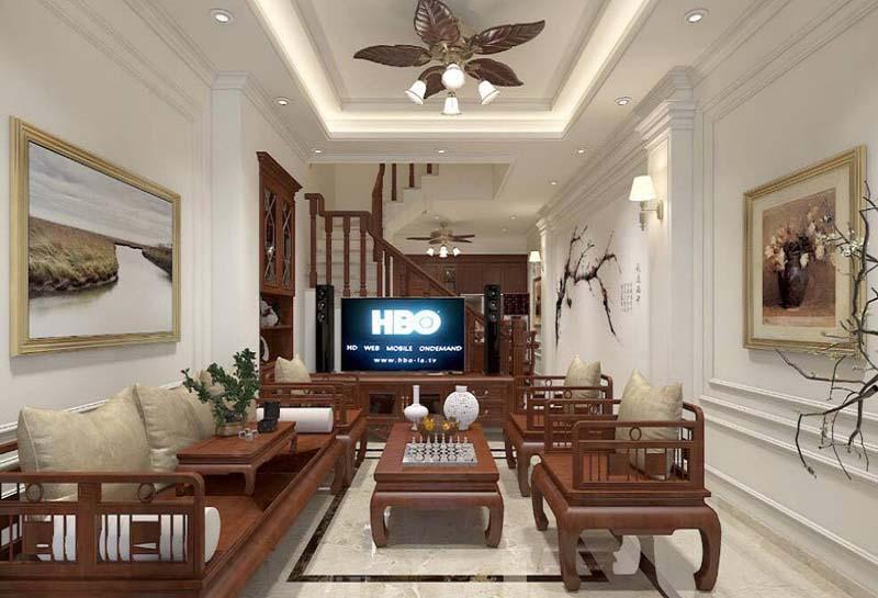 mẫu trần thạch cao phòng khách nhà ống đẹp 18