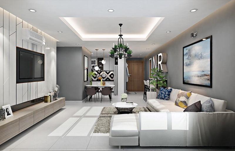 mẫu trần thạch cao phòng khách nhà ống đẹp 2