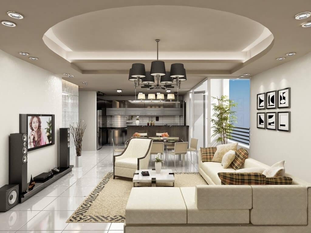 mẫu trần thạch cao phòng khách nhà ống đẹp 6