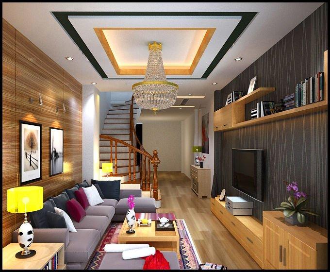 mẫu trần thạch cao phòng khách nhà ống đẹp 8