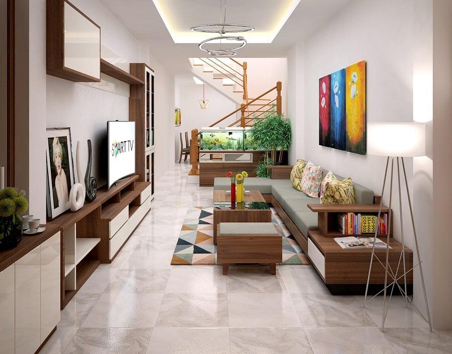 mẫu trần thạch cao phòng khách nhà ống đẹp 9