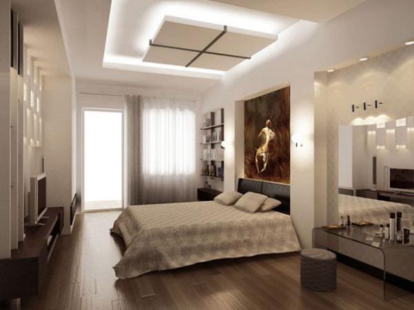 trần thạch cao phòng ngủ đơn giản 1