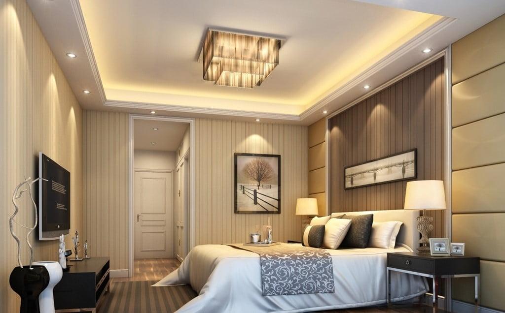 trần thạch cao phòng ngủ đơn giản 5