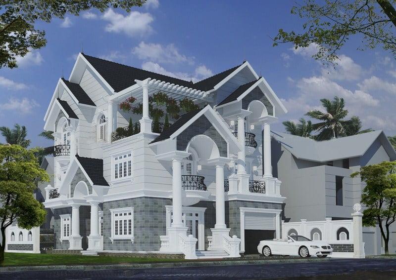 biệt thự kiến trúc pháp 3 tầng 1