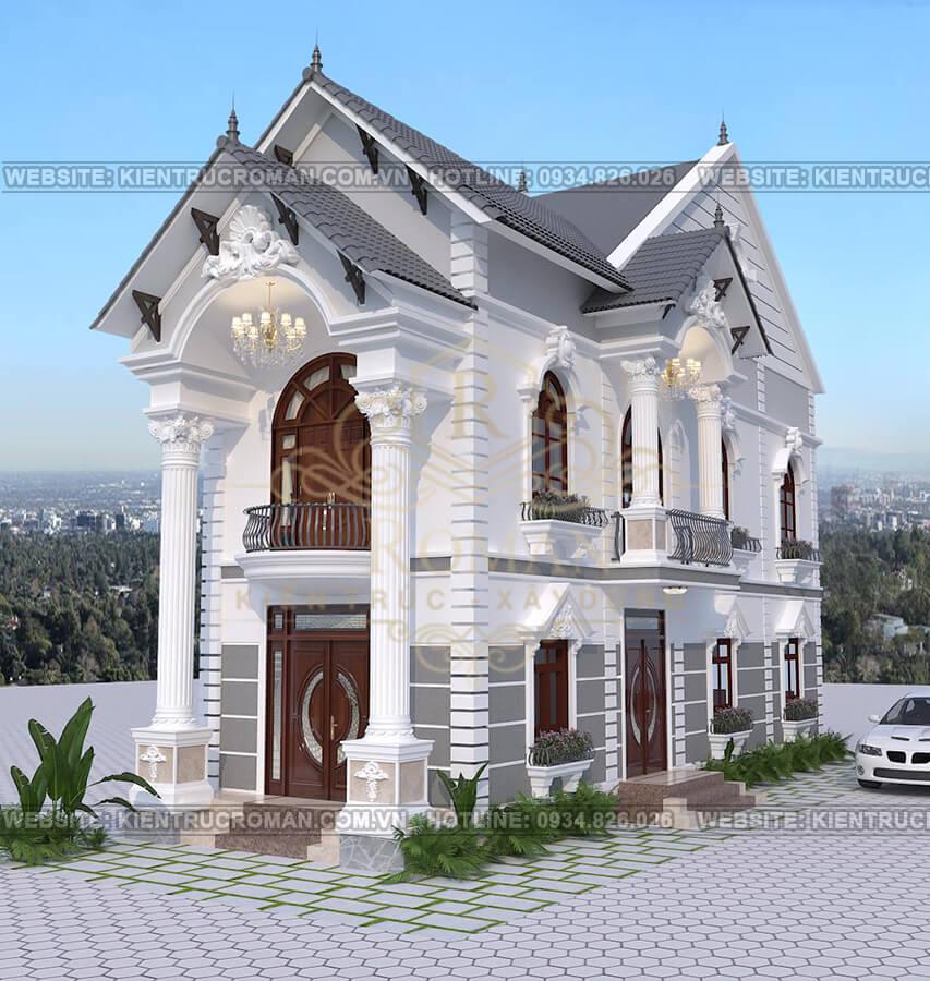 nhà 2 tầng mái thái mặt tiền