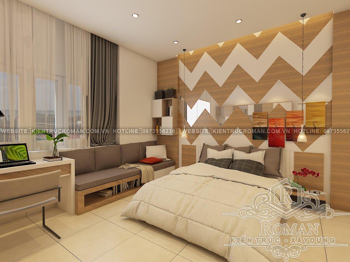 phòng ngủ nhà 2 tầng mái thái đẹp phong tân cổ điển 1