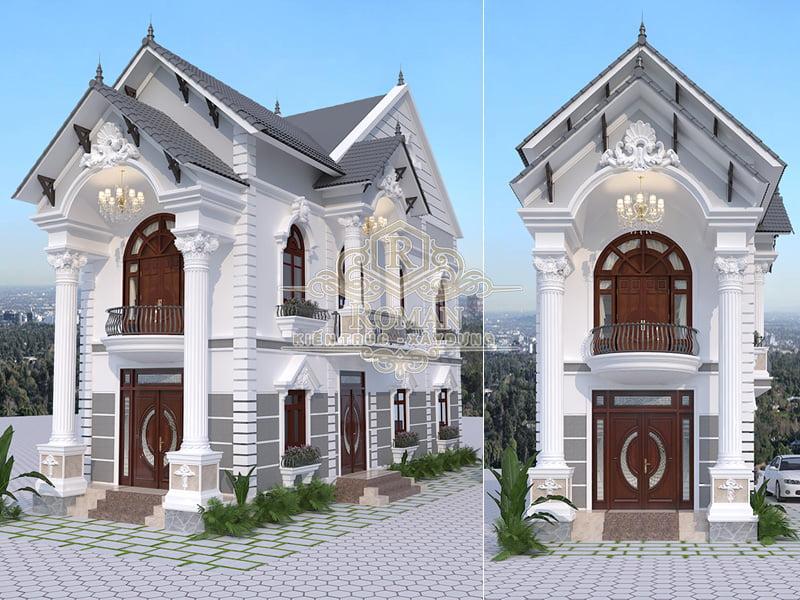 nhà 2 tầng mái thái phong cách tân cổ điển