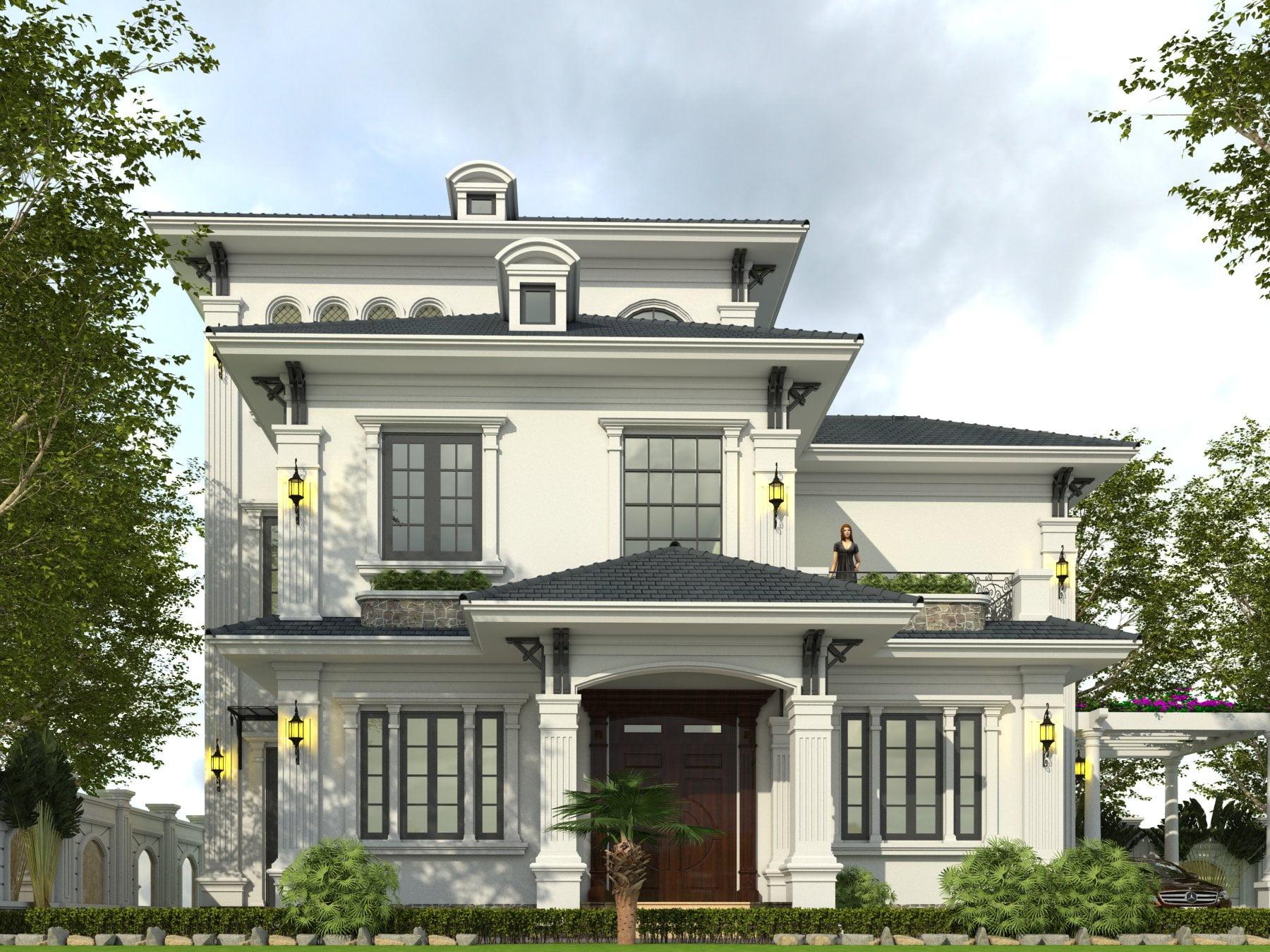 thiết kế nhà biệt thự 3 tầng mái thái đẹp 1