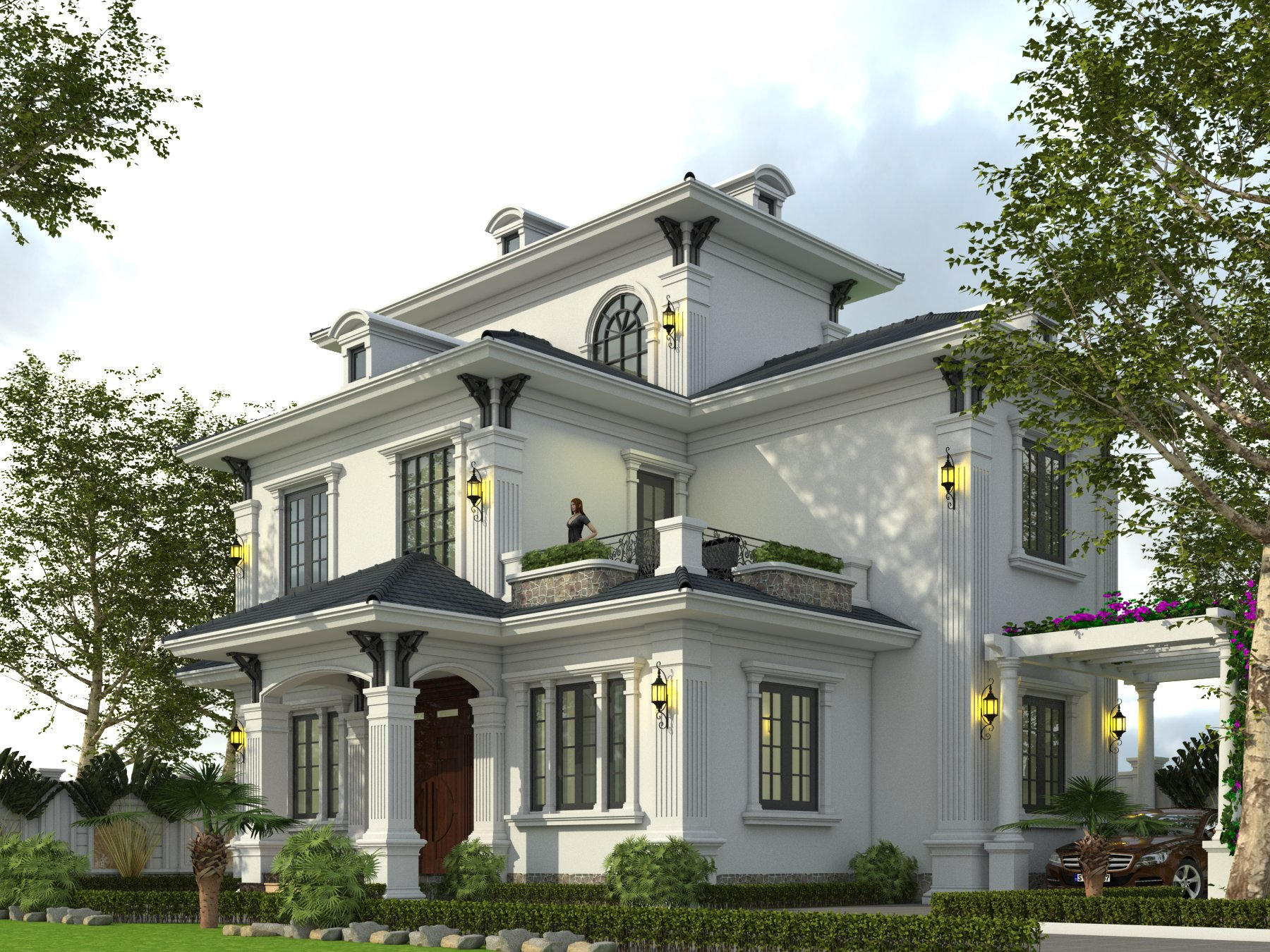 thiết kế nhà biệt thự 3 tầng mái thái đẹp 2