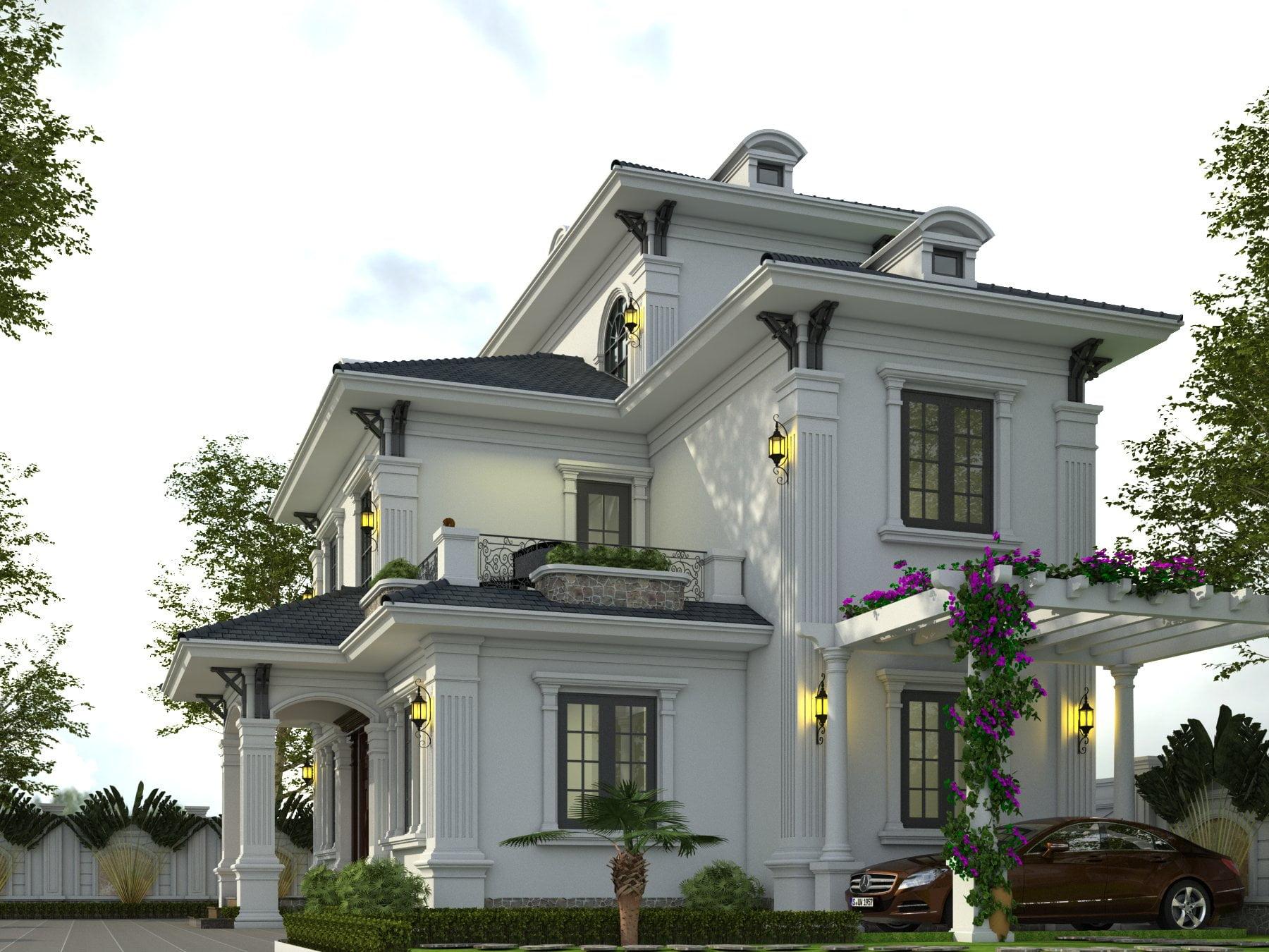 thiết kế nhà biệt thự 3 tầng mái thái đẹp 3