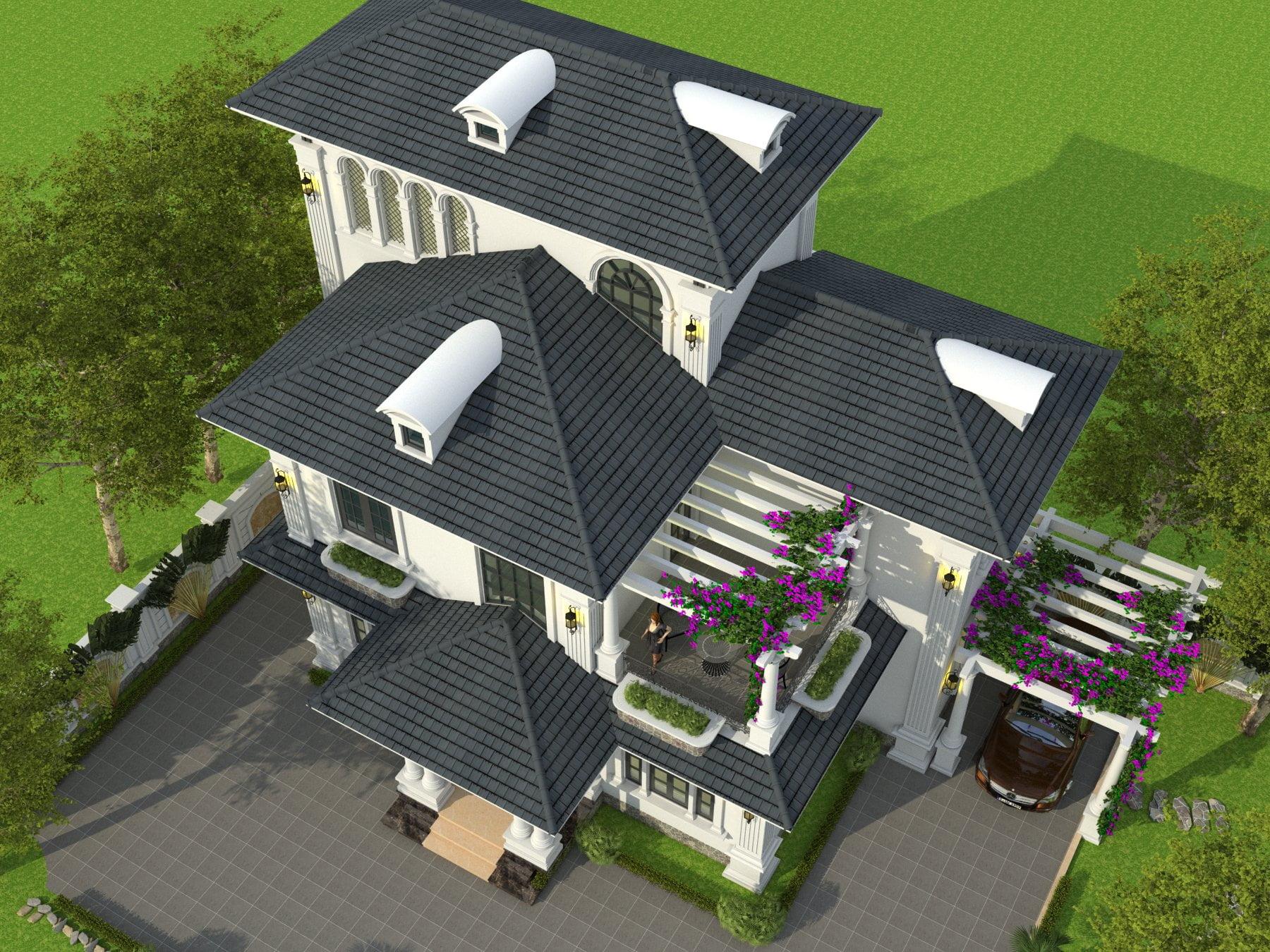 thiết kế nhà biệt thự 3 tầng mái thái đẹp 4