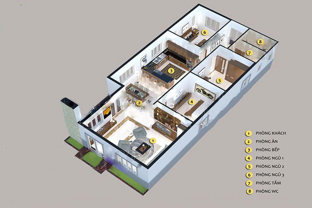 nhà cấp 4 100m2 3 phòng ngủ