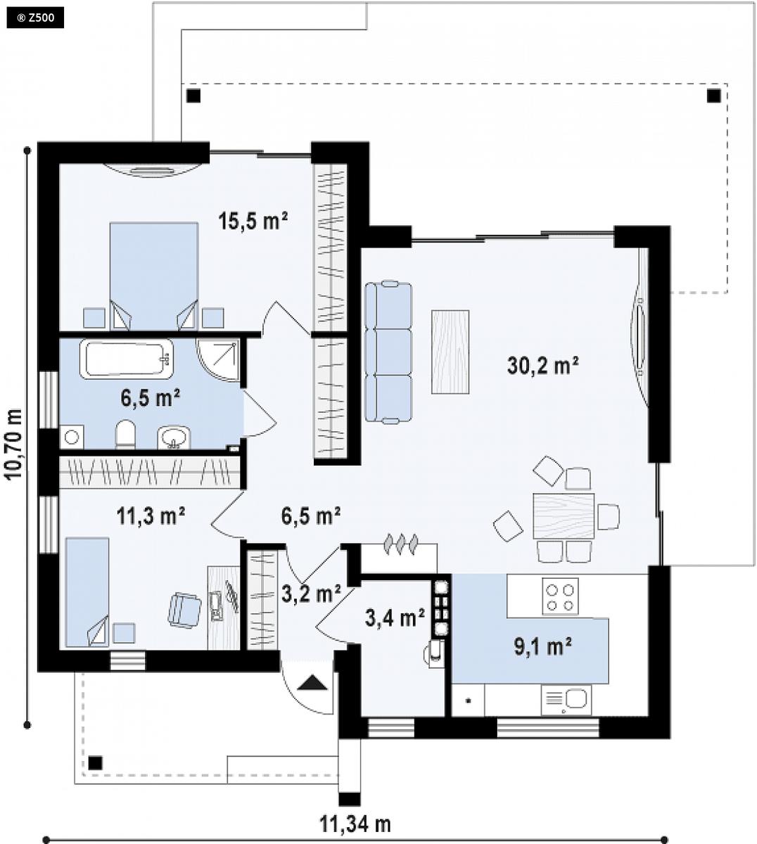nhà cấp 4 2 phòng ngủ 1 phòng khách 3