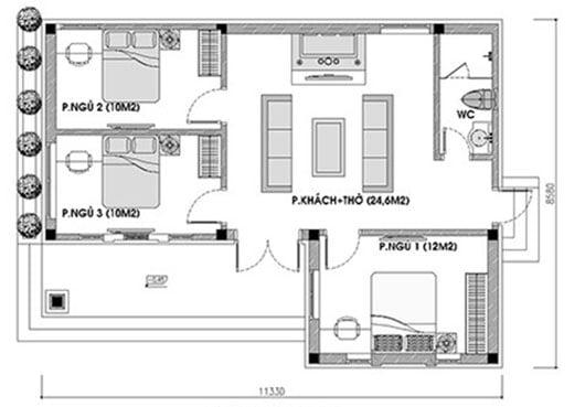 nhà cấp 4 3 phòng ngủ 1 phòng thờ