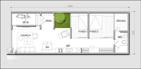 nhà cấp 4 có gác lửng 3 phòng ngủ 3