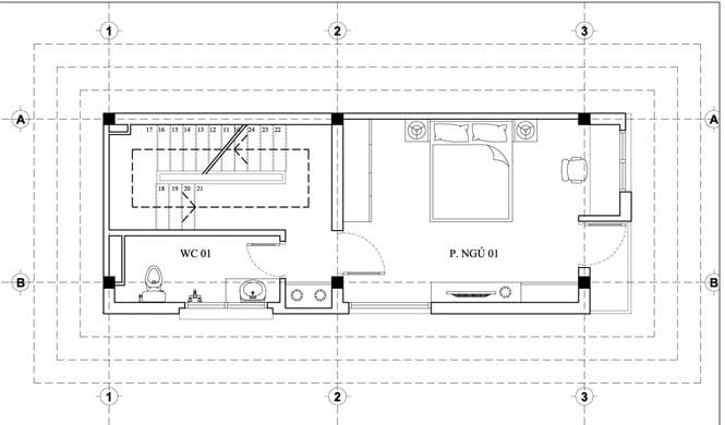 nhà cấp 4 có gác lửng 3 phòng ngủ 4