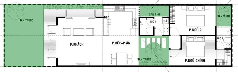 nhà cấp 4 mái thái 4 phòng ngủ