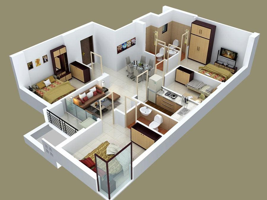 nhà cấp 4 nông thôn 4 phòng ngủ