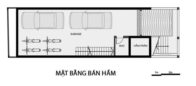 nhà có tầng hầm để xe bản vẽ