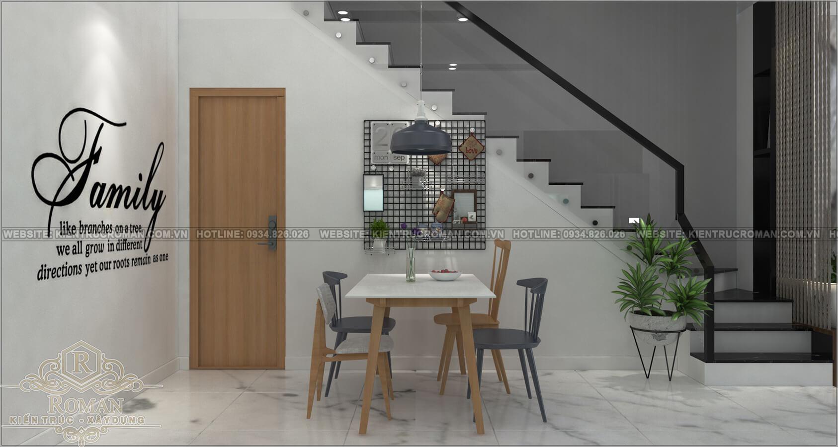 nhà đẹp 2 tầng 1 tum phòng ăn