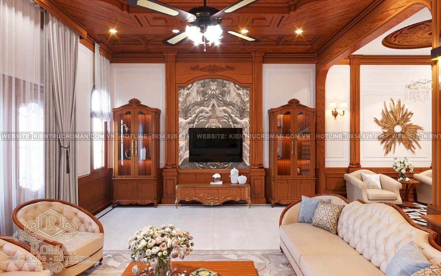 nhà kiểu pháp 2 tầng phòng khách