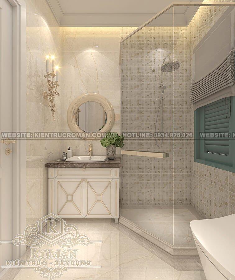 nhà kiểu pháp 2 tầng phòng tắm
