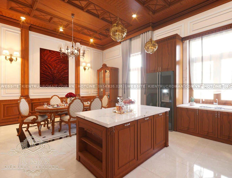nhà kiểu pháp 2 tầng phòng bếp