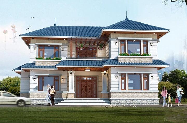 mẫu nhà mái thái 2 tầng chữ L đẹp 1