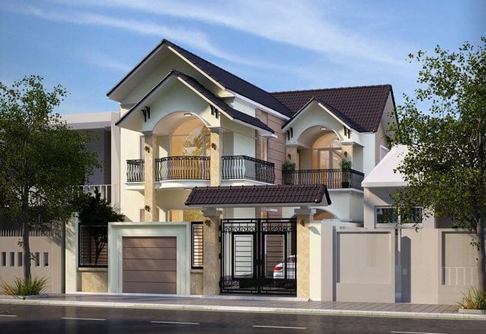 mẫu nhà mái thái 2 tầng chữ L đẹp 3