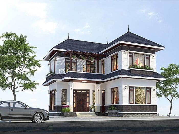 mẫu nhà mái thái 2 tầng chữ L đẹp 6