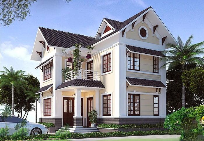 mẫu nhà mái thái 2 tầng chữ L đẹp 7