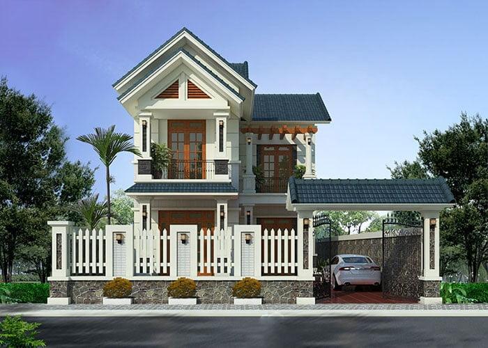 mẫu nhà mái thái 2 tầng chữ L đẹp 8