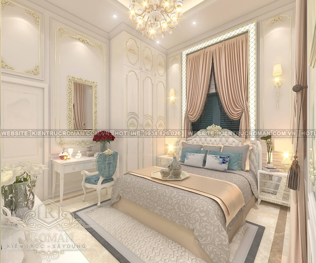 nhà mái thái 2 tầng đẹp phòng ngủ