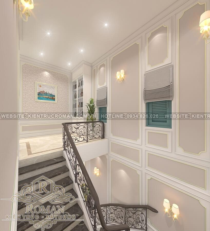 nhà mái thái 2 tầng đẹp sảnh thang