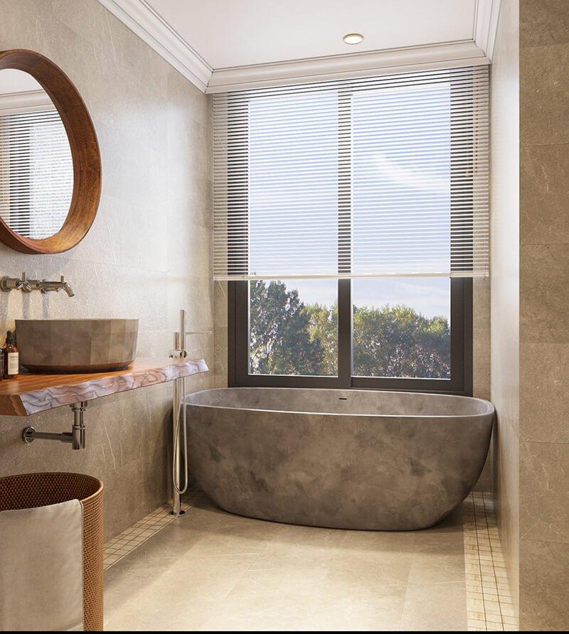 nhà ở song lập hiện đại phòng tắm