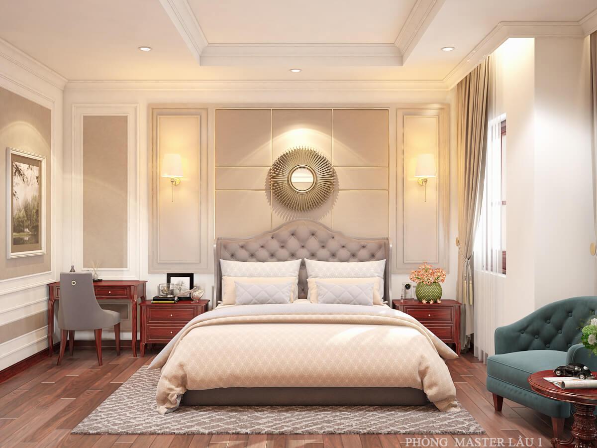 nhà ống tân cổ điển 4 tầng phòng ngủ master lầu 1