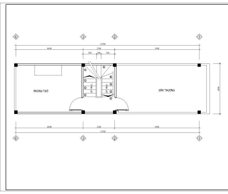 nhà ống tân cổ điển 4 tầng