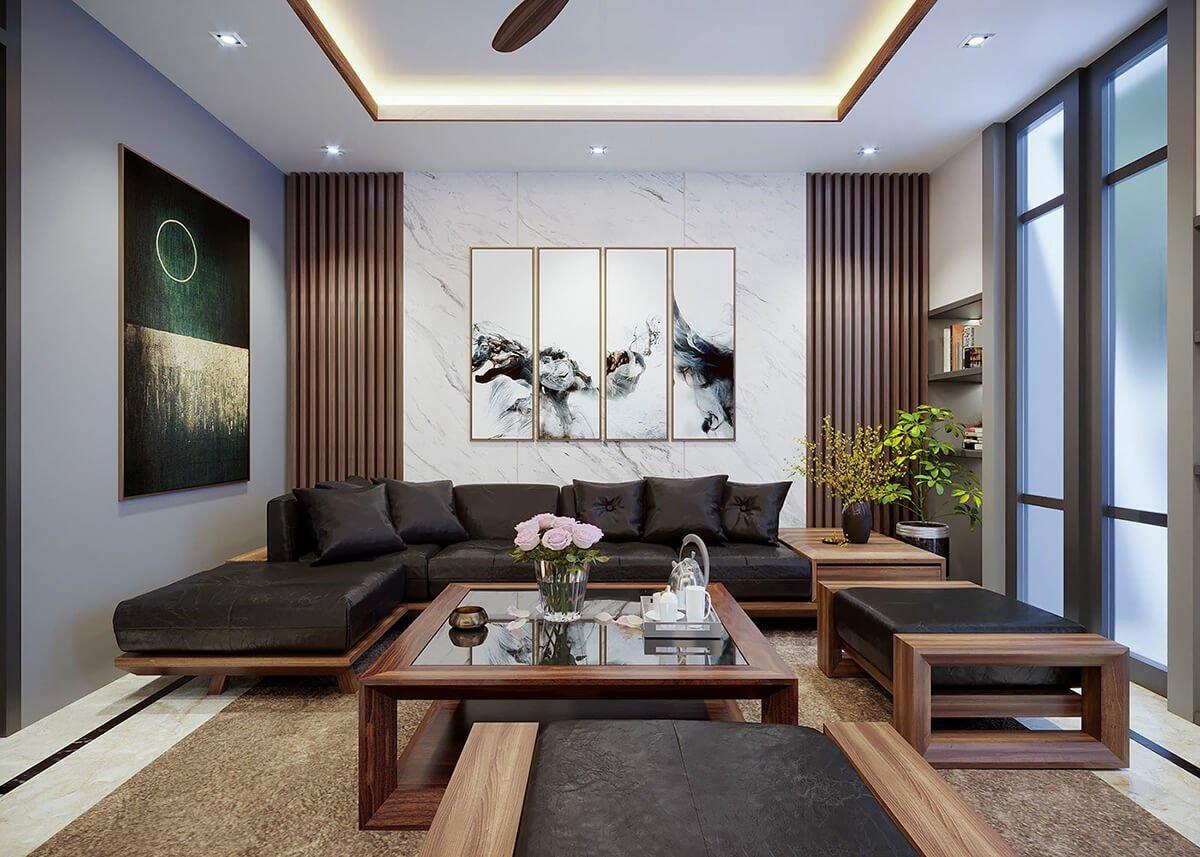 nhà ống tân cổ điển 4x16m phòng khách