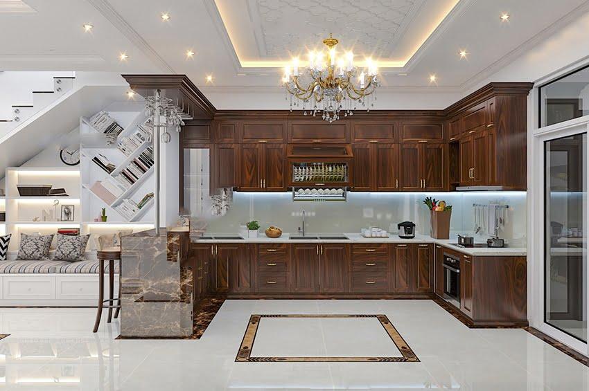 nhà ống tân cổ điển Pháp phòng bếp