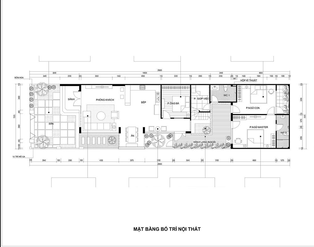 mặt bằng nhà phố 1 tầng hiện đại