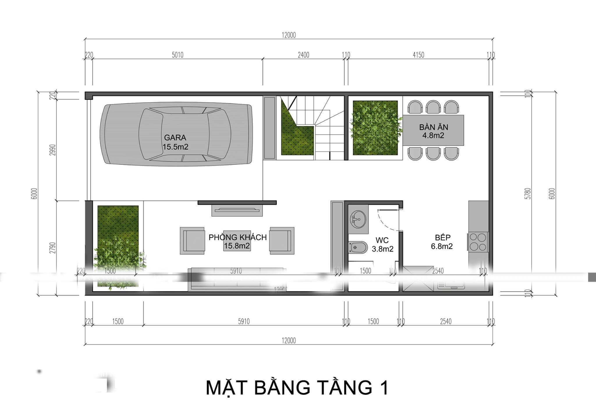mẫu thiết kế nhà phố 3 tầng 6x12m 3