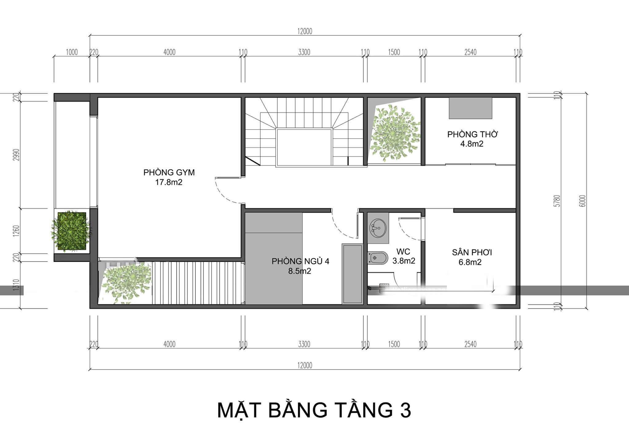 mẫu thiết kế nhà phố 3 tầng 6x12m 5