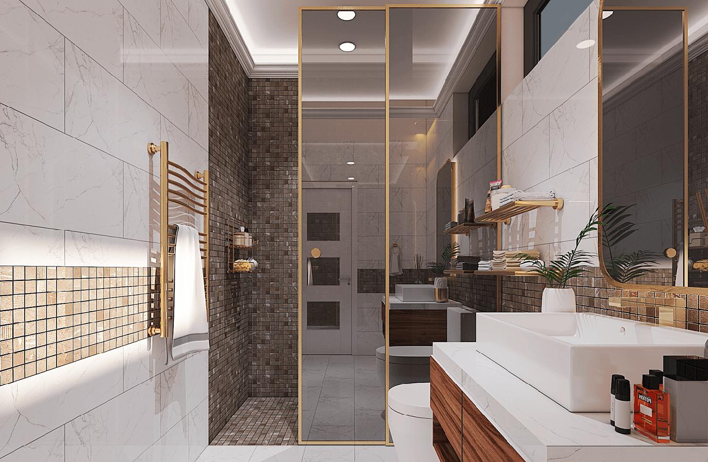 nhà phố 3 tầng mặt tiền 5m phòng tắm