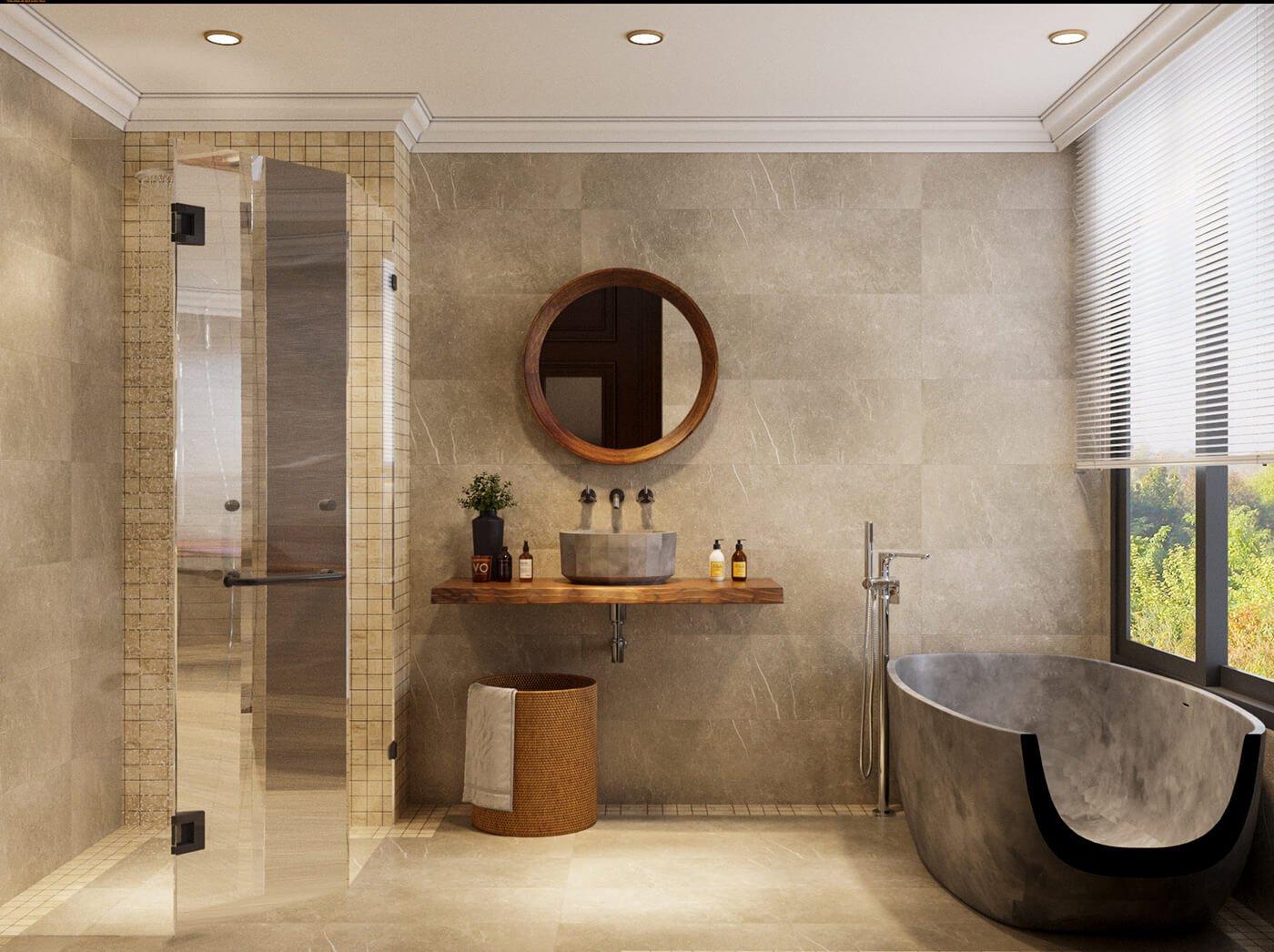 nhà phố 4 tầng hiện đại 4x10m phòng tắm