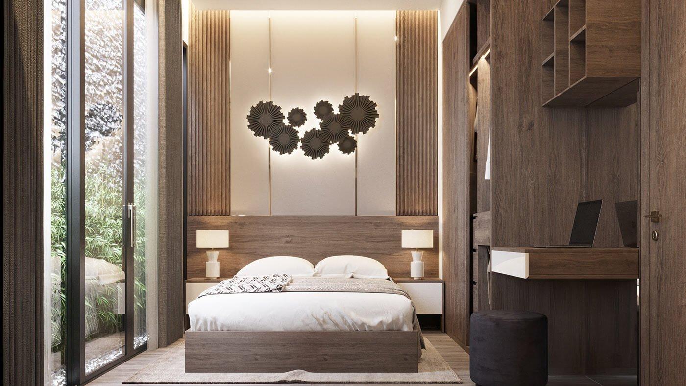 nhà phố lệch tầng 5x15m phòng ngủ master